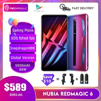 New Nubia Red Magic 6/ 6Pro Global Version Gaming Phone 165Hz Refresh Rate Snapdragon888 66W 5050mAh Air-Cooled FastCharge