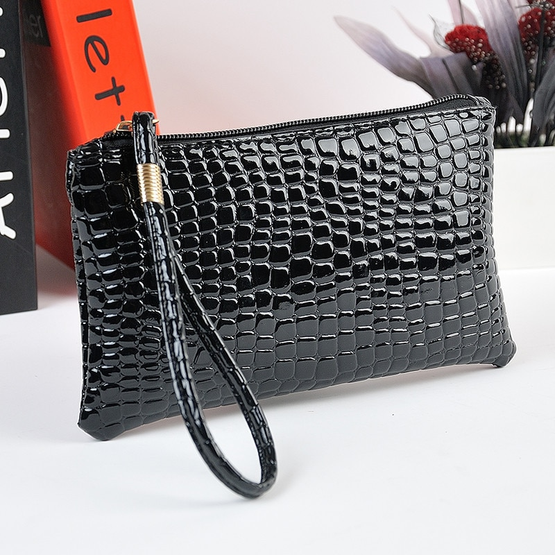 2019 Summer Style Women Fashion Black Crocodile Leather PU Coin Clutch Zip Around Wallet Card Holder