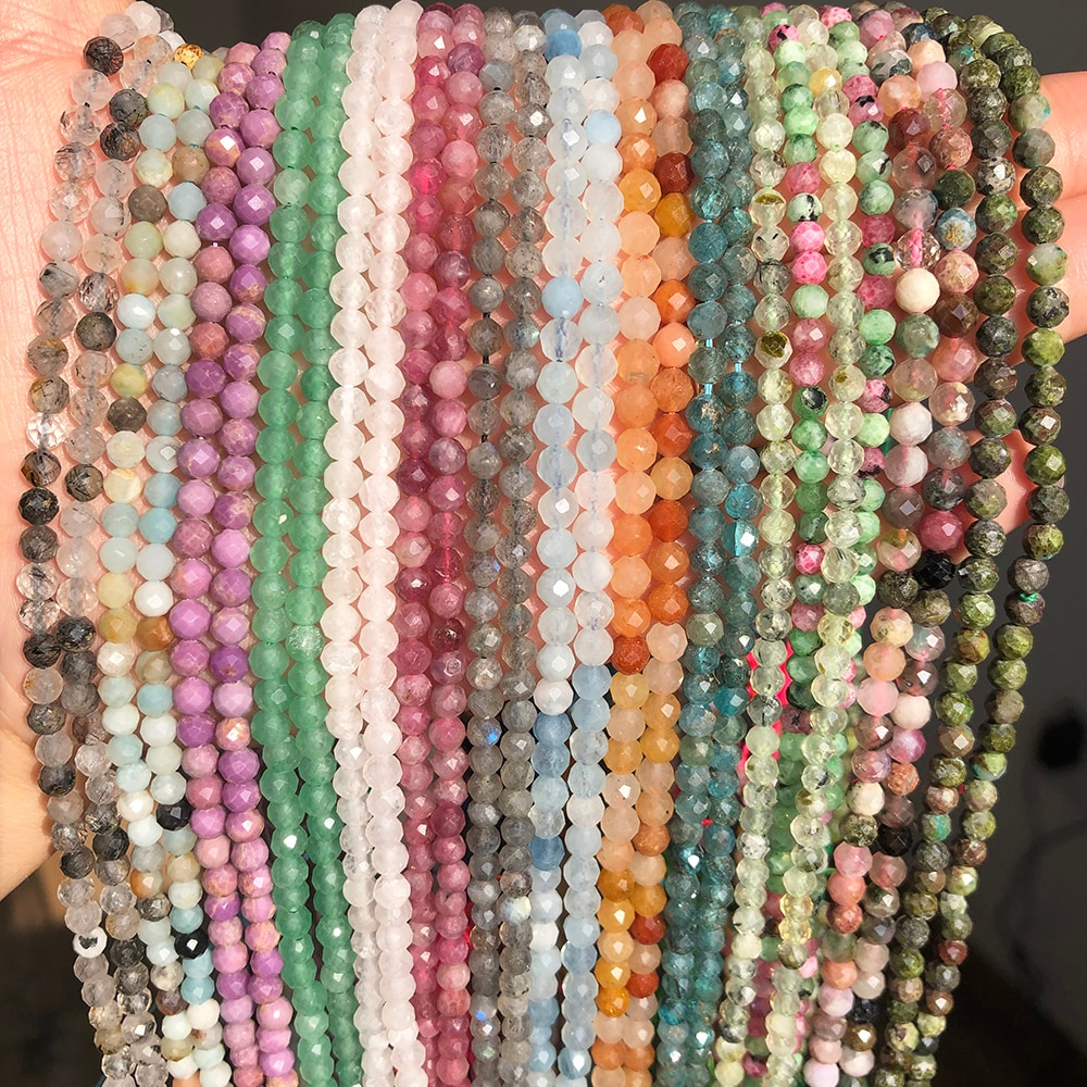 Natural facetado ágata moonstone turmalina prehnites jades contas de pedra para jóias diy fazer pulseira acessórios 15 2 2 3 4mm