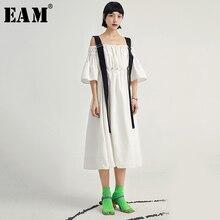 [EAM] Women White Pleated Split Joint Long Dress New Slash Neck Puff Sleeve Loose Fit Fashion Tide Spring Summer 2020 1U609