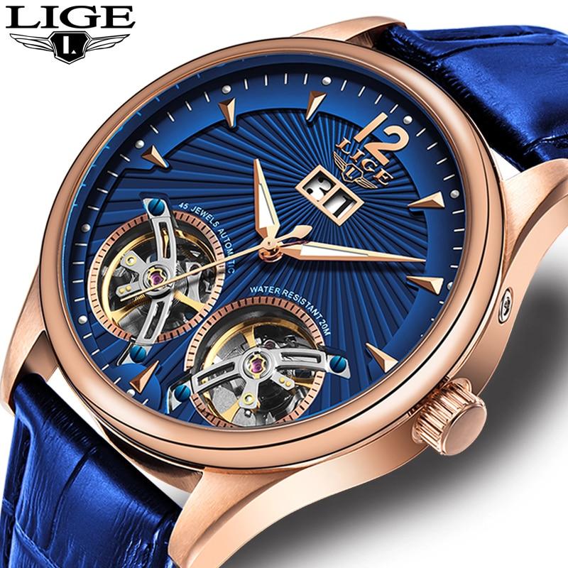 LIGE-ساعة رجالية ميكانيكية ، توربيون مزدوج ، جلد أزرق ، أوتوماتيكي ، مع صندوق ، 2020