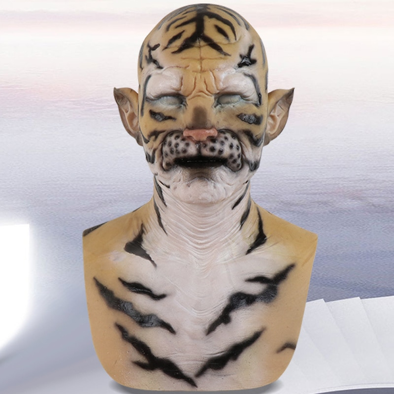الوحش القبعات سيليكون قناع هالوين تمويه الدعائم محاكاة ساخرة كوس النمر الأبيض تأثيري حفلة مرحلة أداء دور الدعائم