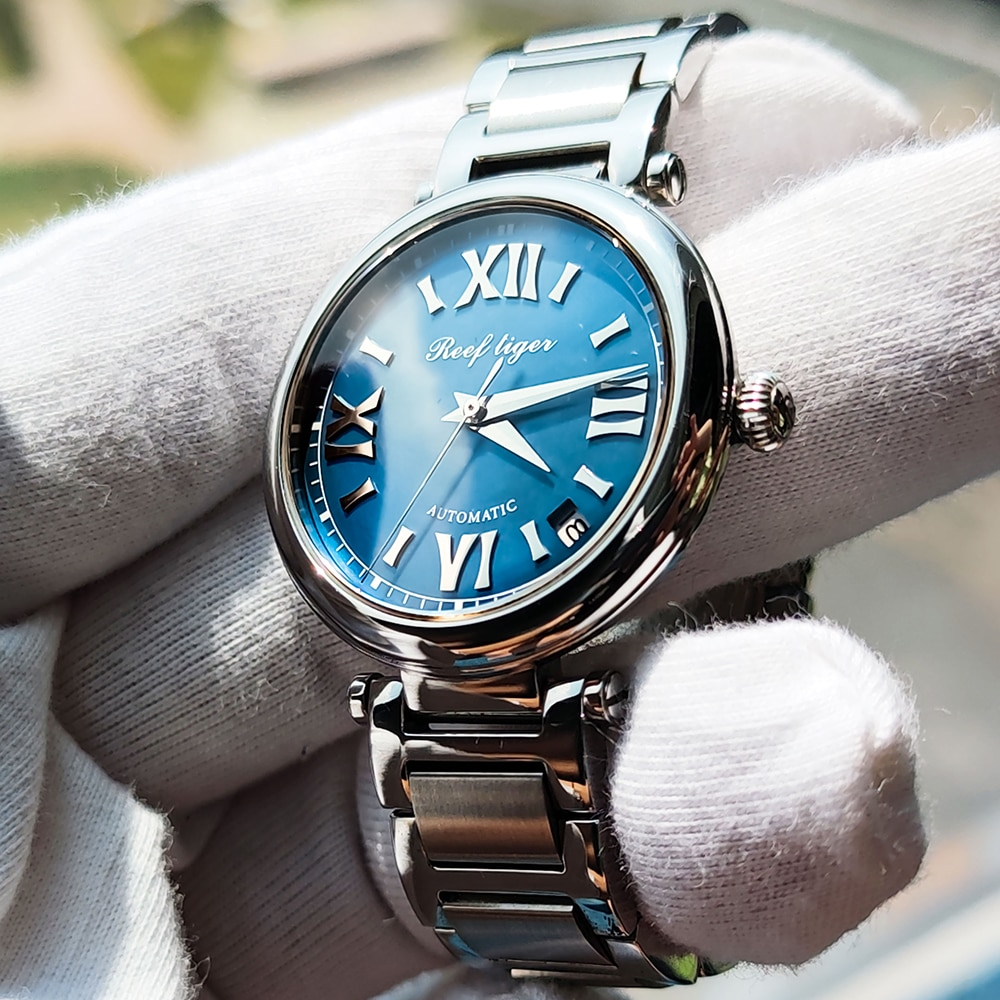 Reef Tiger/RT 2020 Top Brand Luxury Ladies Watch Sapphire Automatic Watch for Women Blue Dial Steel Bracelet Watches RGA1595 enlarge