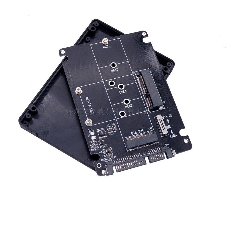 Tarjeta de adaptador de disco duro de estado sólido MSATA M.2 NGFF a SATA dos en uno Bkey B + m tarjeta de expansión de llave caja de disco duro HDD