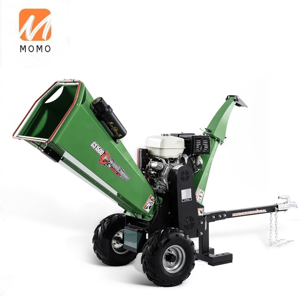 approved trailer mounted 15hp petrol engine mobile wood chipper machine for sale