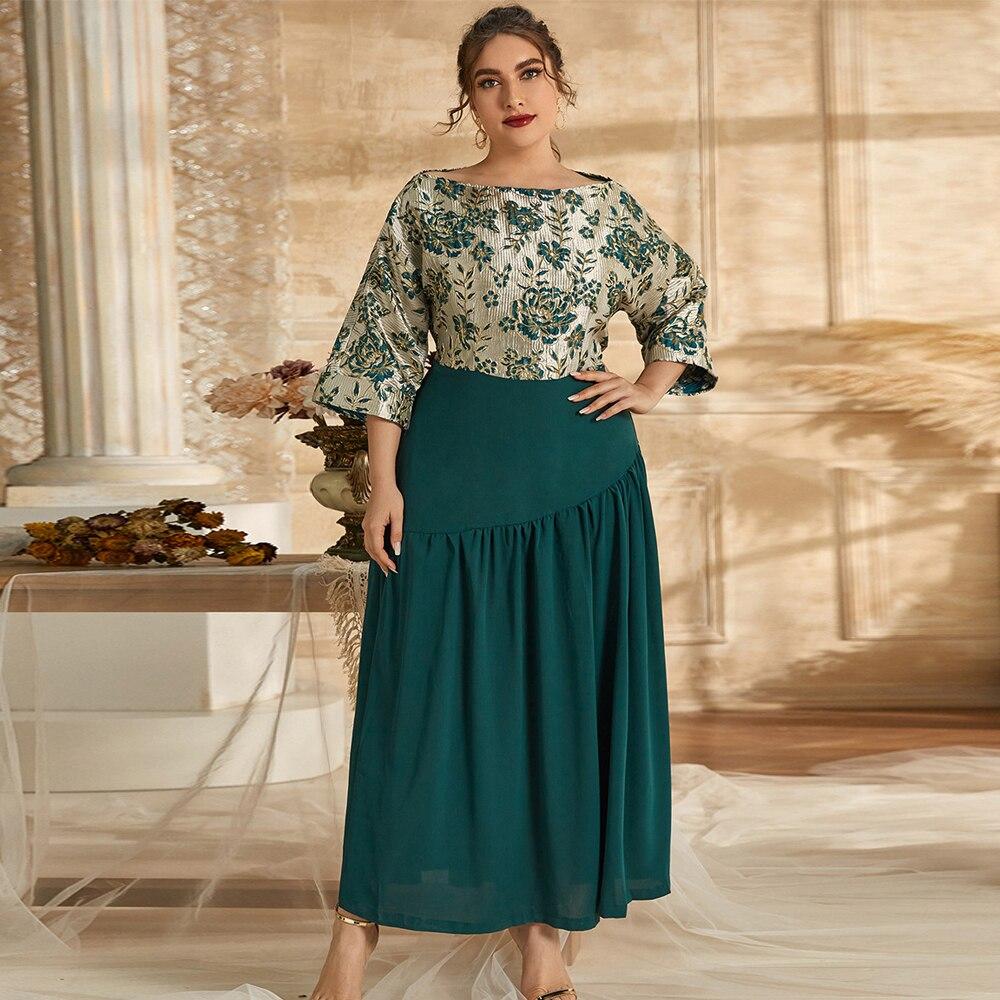 Women Elegant Ethnic Party Dresses Long Chiffon Patchwork Plus Size 5XL Arab Dubai Morocco Banquet Gown Abaya Caftan Green Robe