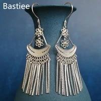bastiee 999 sterling silver ethnic long tassels earrings for women chinese vintage handmade luxury jewelry hmong miao bohemian