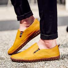 Мужские лоферы из натуральной кожи, Желтые Повседневные слипоны на плоской подошве, обувь для вождения, большие размеры 38-50