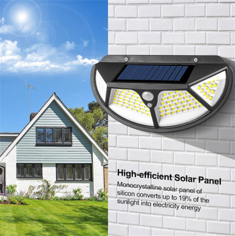 Solar Wall Lamp Human Induction Light 4-Sides Illumination Waterproof Outdoor solar lamp Lighting for Front door Yard Garden
