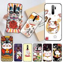 Hpchcjhm japonês bonito gato sorte kawaii capa preta macio escudo caso de telefone para redmi nota 8 8a 8 t 7 6 6a 5 5a 4 4x 4a go pro