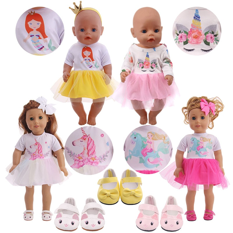 Милое Платье с единорогом/русалочкой + головной убор, подходит для 18 дюймовых американских кукол и 43 45 см, одежда для маленьких кукол, для девочек, наше поколение и 40 см, Nenuco