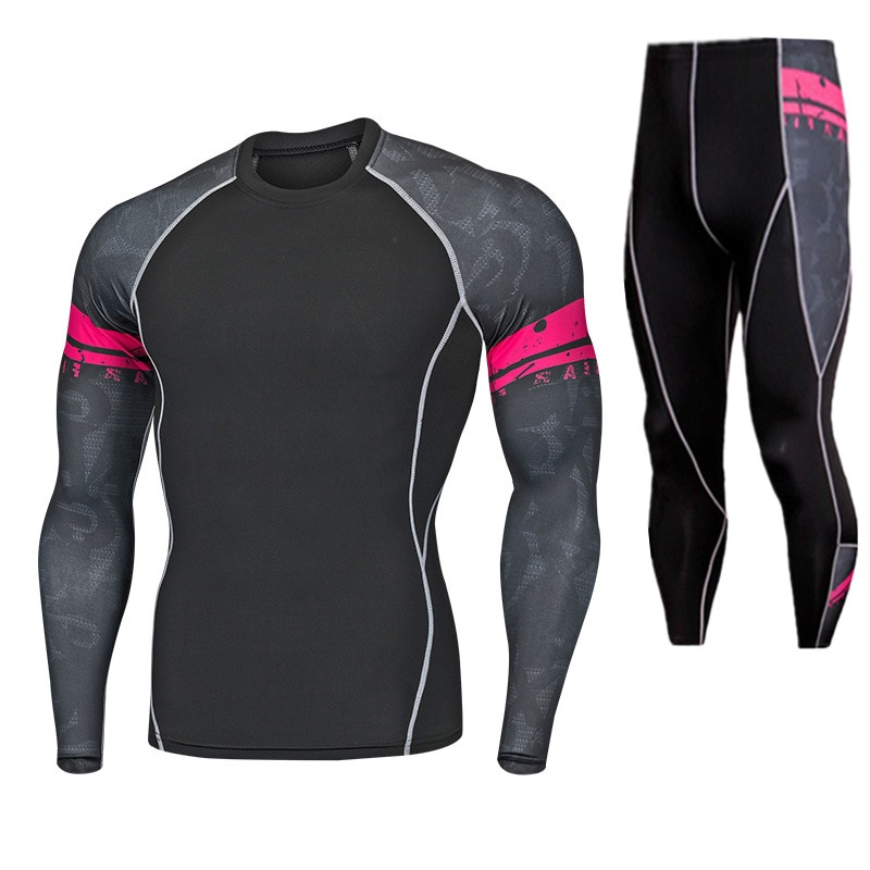 Men's Thermal Underwear Set Motorcycle Base Layer Winter Warm Tight Long Shirts & Tops Bottom Suit t shirts and pants trousers enlarge