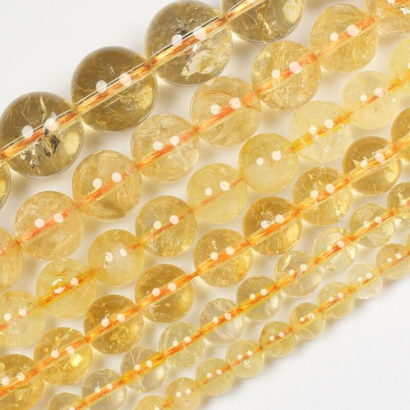 Круглые Бусины Из Натурального цитрина, россыпью 6-14 мм, бусины 15 дюймов для самостоятельного изготовления ювелирных украшений, мы предлага...