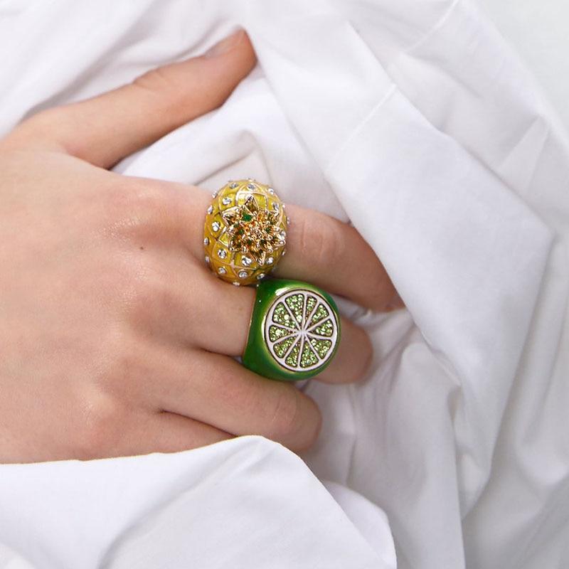 Best lady 2020 новые Бохо стеклянные ананасовые кольца арбузы для женщин Za ювелирные изделия Разноцветные Свадебные вечерние кольца с натуральным камнем