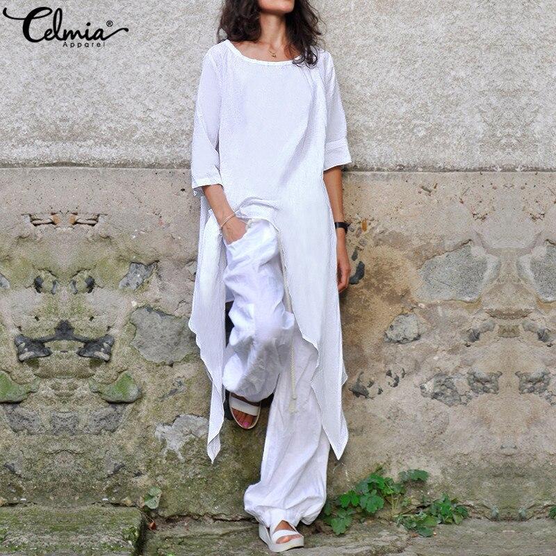 Celmia de talla grande túnica Tops Blusas de las mujeres O de media manga cuello camisas casuales irregular suelto larga Blusas Femininas S-5XL