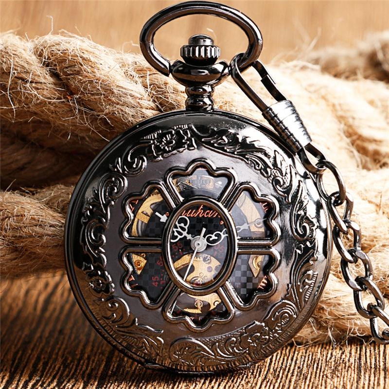Steampunk Hollow Out Flower Case Men Women Handwind Mechanical Pocket Watch Roman Number FOB Pendant Chain Relgio de bolso