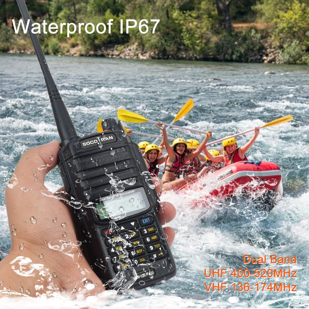 2 шт. Двухдиапазонная рация 5 Вт Socotran UV-12R plus, водонепроницаемая рация, рация, радиосканер рация vector vt 44 master