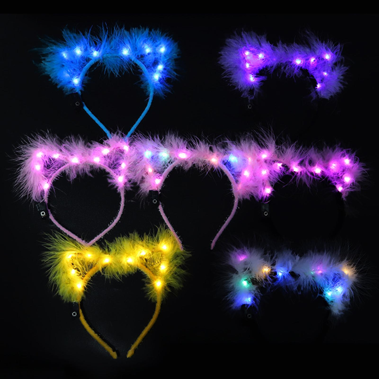 Thickened Feather LED Light Cat Ear Headband Party Decoration Hair Accessories