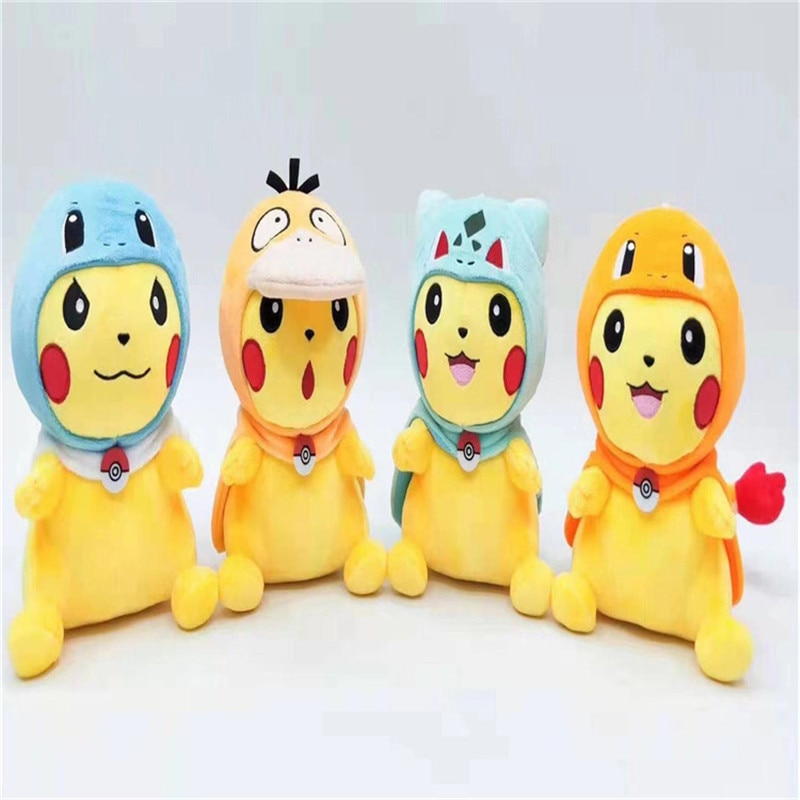 Cabo Pikachu arrastre serie tesoro sueño Mutable Bulbasaur Squirtle Peluche de Psyduck muñeca