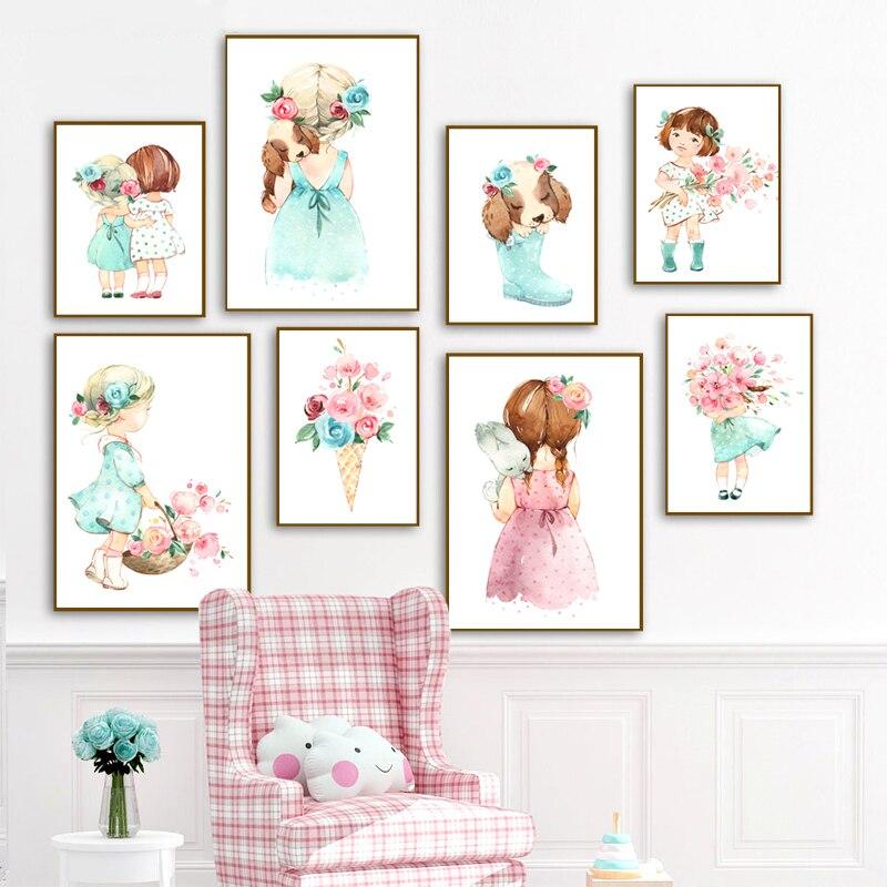 Bonito paraguas nórdico rosa para niña cuadro e impresión cuadro sobre lienzo para pared cuadro de pared para guardería habitación de niños d