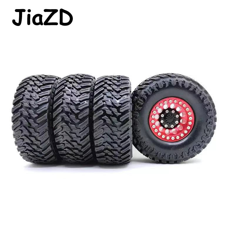 4PCS Metal Red Beadlock 1.9'' Wheel Rim & 108mm/120mm Tires for 1/10 RC Rock Crawler Axial SCX10  JEEP 90046 90047 D90 D110 Y02 enlarge