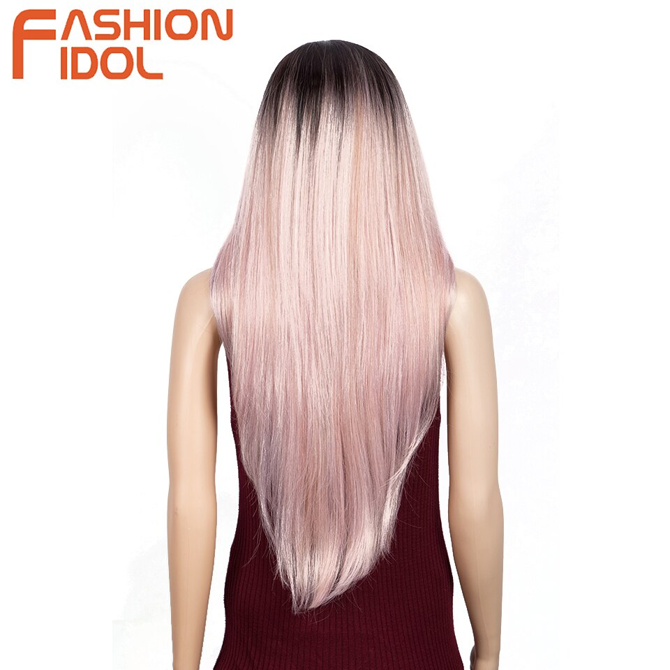 Ombre Lace Front Lolita Pink Wig Middle Part Cosplay Long Straight and Wave Hair Synthetic Lace Wig For White Women FASHION IDOL enlarge