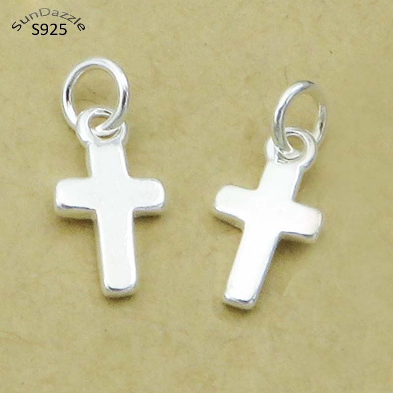 Genuine Real Pure Solid 925 Sterling Silver Jewelry Making Women Religious Cross DIY Necklace Bracelet Pendant Findings