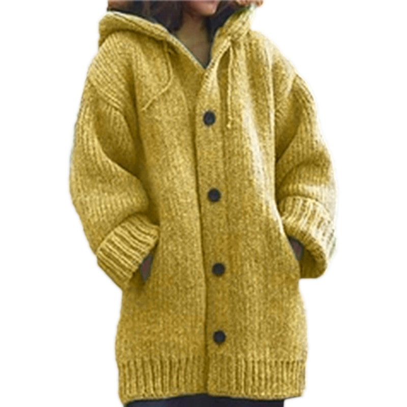 Women Long Sleeve Hoodie Cardigan Chunky Knit Solid Color Button Sweater Coat enlarge