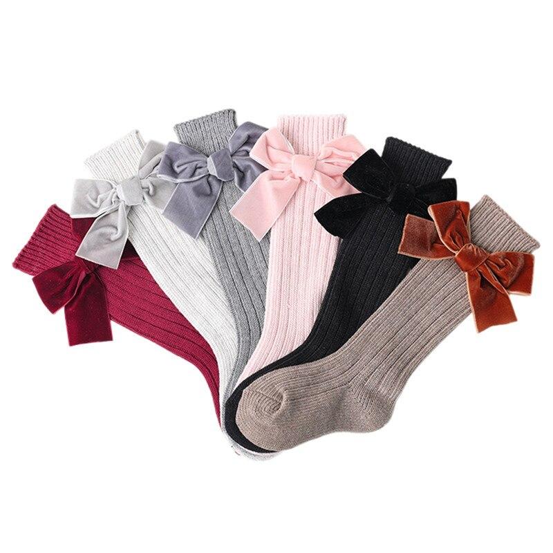 Medias cálidas de invierno para niñas recién nacidas, medias largas hasta la rodilla de encaje de algodón con lazo para bebé