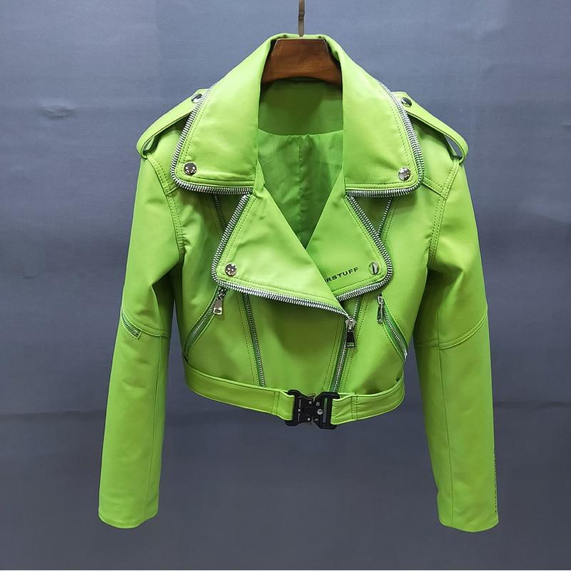 سترة جلدية حقيقية 2020 معطف المرأة الربيع معاطف جلد الغنم الحقيقي خطابات قصيرة نمط جديد ماركة ملابس طويلة الأكمام + FN0067