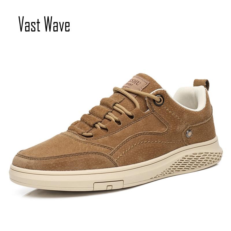 Vastwave couro genuíno pele de porco dos homens sapatos casuais deslizamento resistent luxo homem lazer sapatos de couro para sapatos de lona masculina