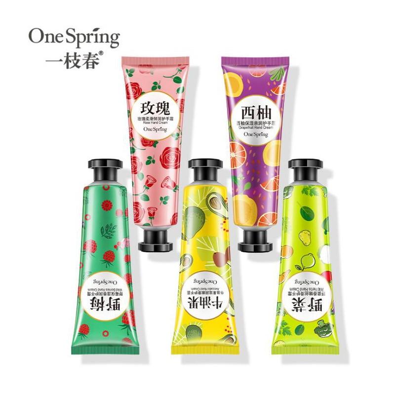 5pcs One Spring Plants Hand Cream Set 5pcs Moisturizing Hand Cream Nourishing Anti Chapping Oil Cont