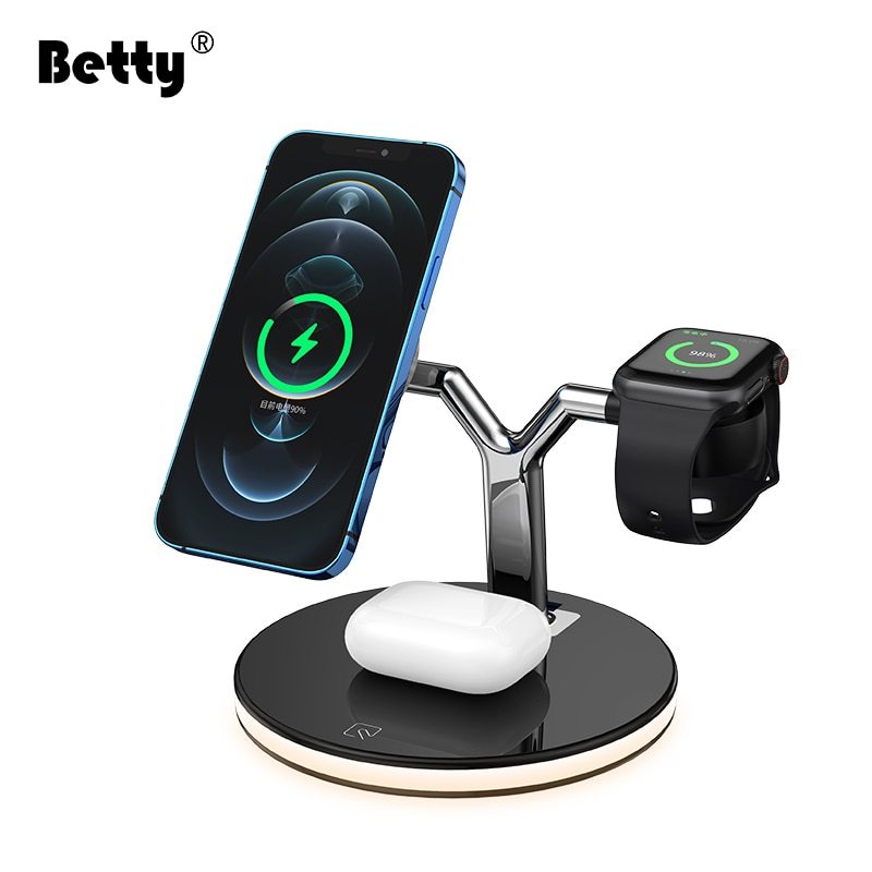 Betty 3 in 1 Wireless Chargers For iPhones Foldable Charging Stand magsafe Airpods iWatch iPhone 12