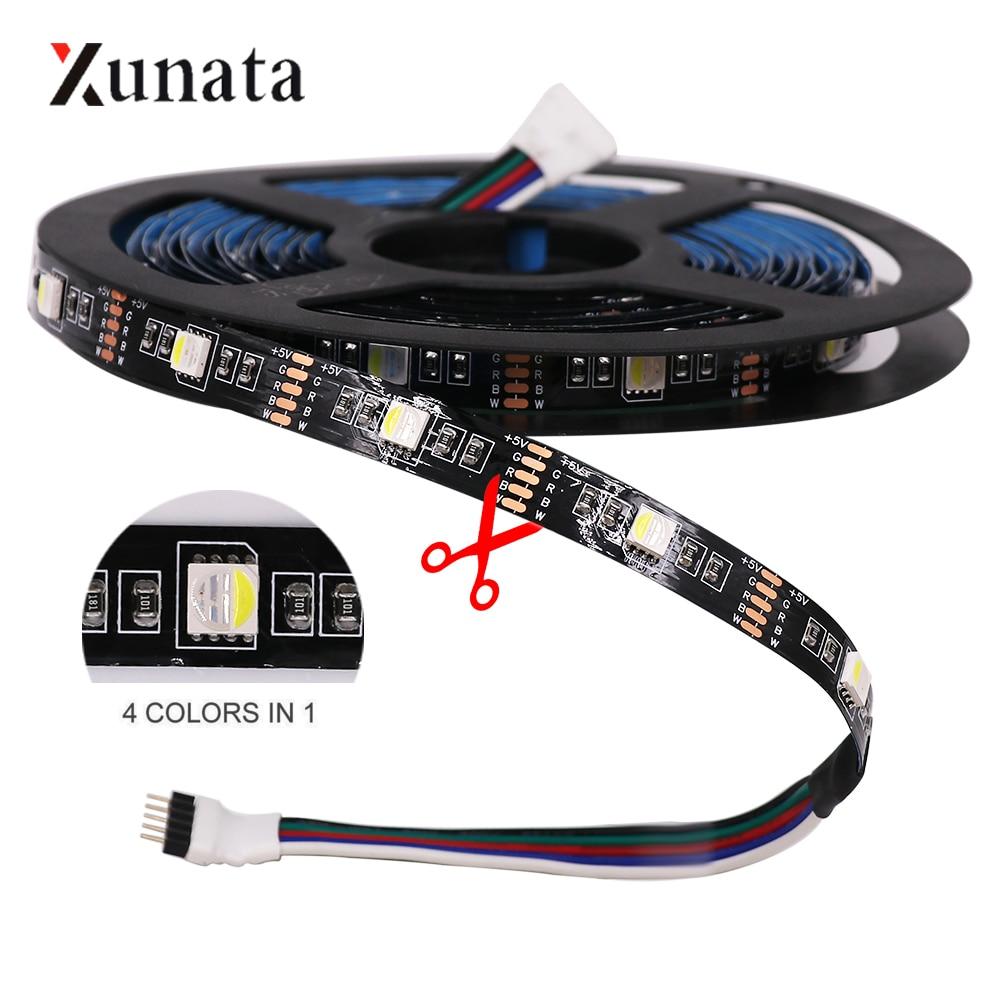 DC5V 4 en 1 tira de luz LED 4 colores en 1 LED RGBW RGBWW 5M SMD5050 30 LEDs/M cinta Flexible LED Cinta Negra PCB LED cinta decoración para el hogar