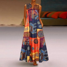 Été 2020 Robe femmes mode col en v sans manches poches longue Maxi Boho Robe imprimé Abaya Robe