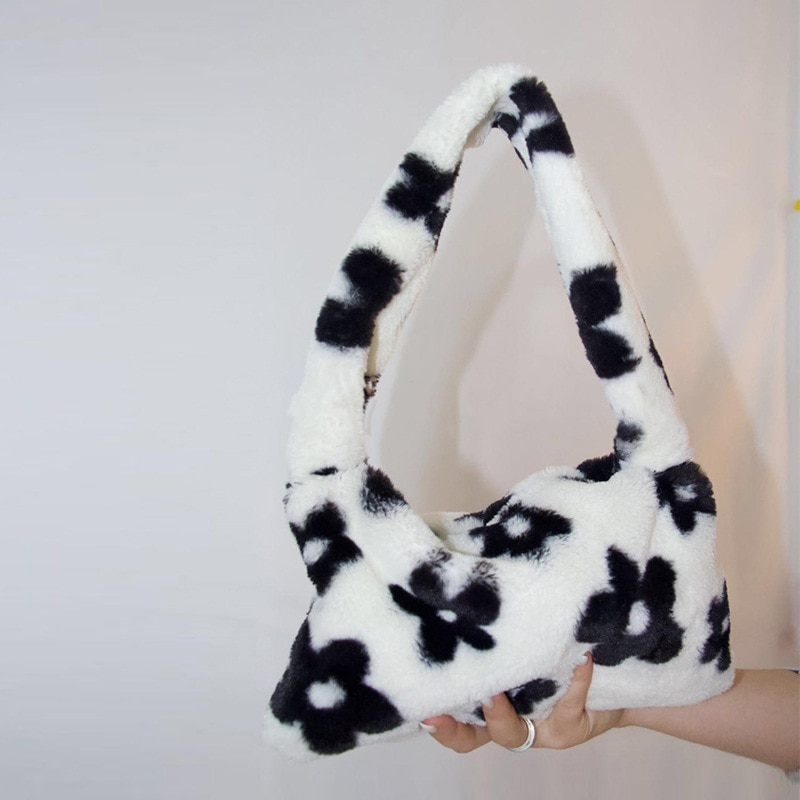 Vintage Cute Soft Fur Shoulder Bags for Women Autumn Winter Plush Luxury Handbags and Purses Ladies Underarm Bags
