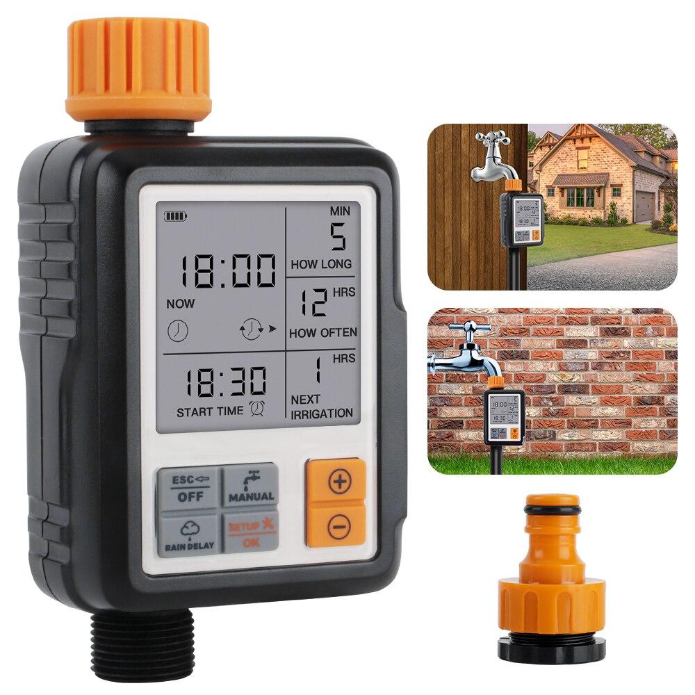 Temporizador de rega inteligente automático controlador irrigação do jardim display lcd ao ar livre temporizador sprinkler sincronismo dispositivo ferramentas