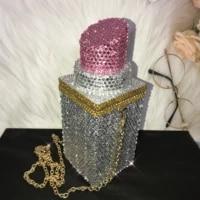 all rhinestones lipstick shoulder bags women handbags evening purse party celebrity designer handbags luxury storage bag white