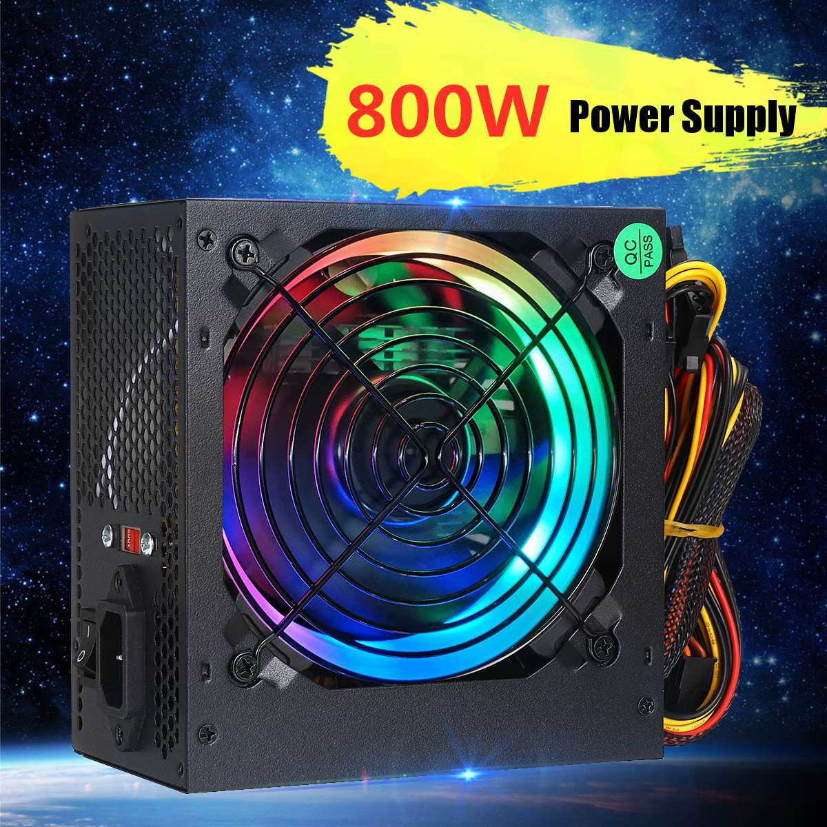 800W 24 Pin PCI SATA 12V PC Power Supply 110/220V Switchable Desktop Computer Power Supply 12cm Multicolor LED Fan