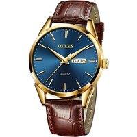 Часы наручные OLEVS Мужские кварцевые, брендовые Роскошные модные деловые дышащие светящиеся с кожаным ремешком, подарок для мужчин
