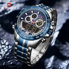 NAVIFORCE Men Military Luxury Watch Quartz Sport Casual Full Steel Wrist Watch Digital Analog Waterp
