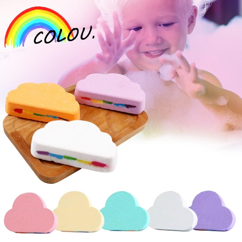 Rainbow Soap Cloud Bath Salt Moisturizing Exfoliating Cleaning Body Skin Bubble Bath Bombs Multicolor For Baby Bathroom Product