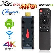 X96 S400 TV Stick ANDROID 10 Allwinner H313 Quad Core 4K Android 10.0 TV BOX 2.4G Wifi lecteur multimédia 2G16G VS MI feu Dongle