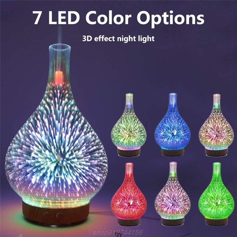 Essential Oil Diffuser Humidifier 100ML Glass Aromatherpy Diffusers 7 Color LED Lights Changing for Home Bedroom N10 20 Dropship
