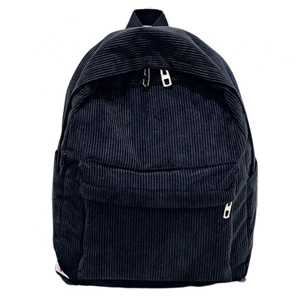 Women Solid Color Pocket Zip Corduroy Large Capacity Student Backpack Schoolbag недорого