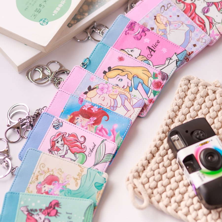Moda linda princesa estilo Anime felpa tarjeta titular PU dibujos animados crédito ID bolsas moneda Bus tarjeta monedero niñas regalos de cumpleaños nuevo