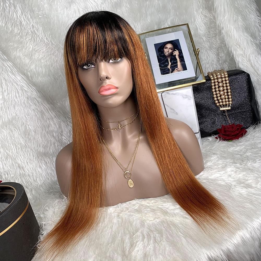Colorful Bob With Bangs Machine Made Wig Brazilian Human Hair 180% Density Machine Made Glueless Straight Bob With Bangs Wig