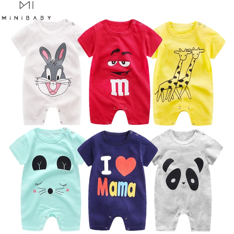 2021 Cheap cotton Baby romper Short Sleeve baby clothing One Piece Summer Unisex Baby Clothes girl and boy jumpsuits Giraffe