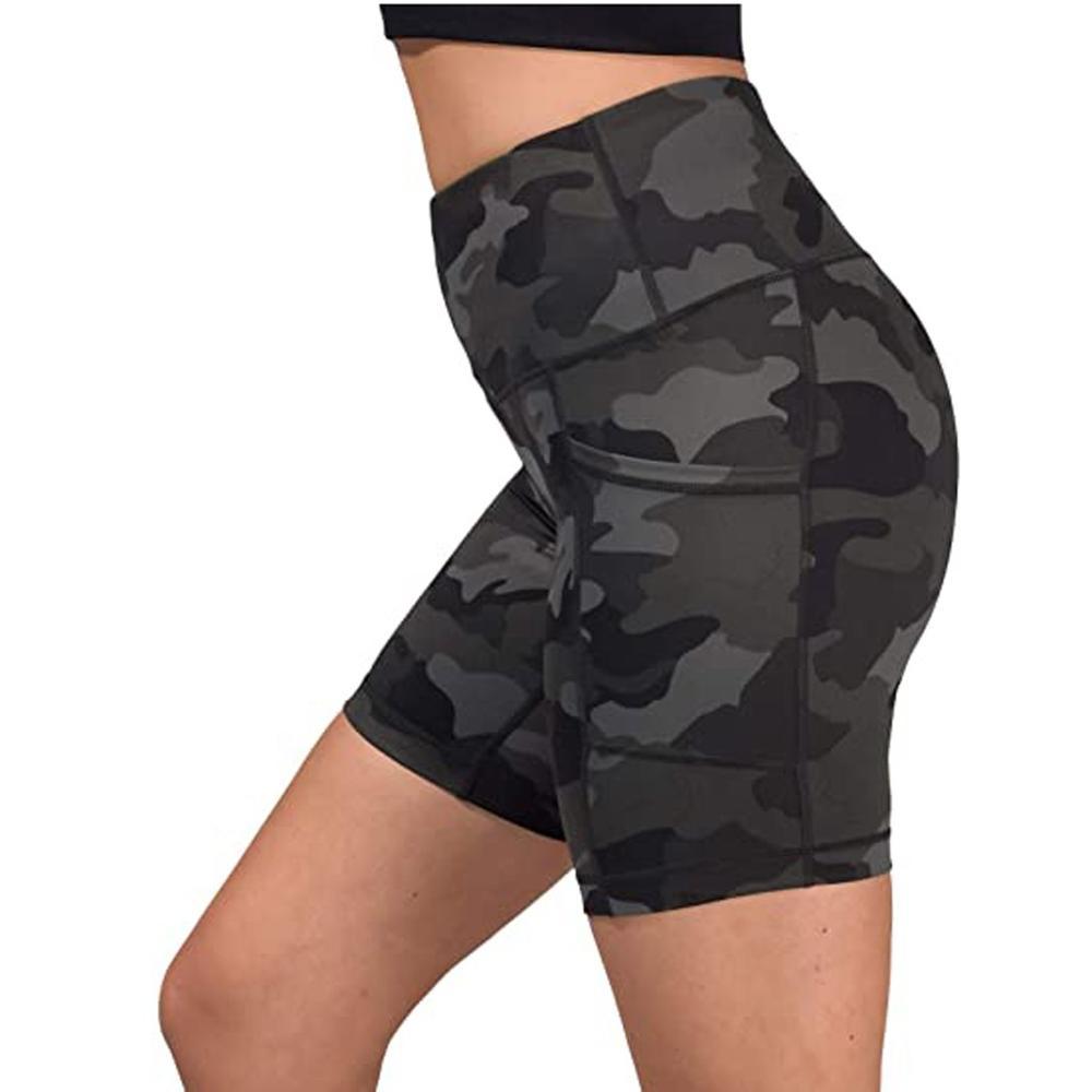 Verão shorts mulheres cintura alta curto treino scrunch espólio camuflagem shorts bolsos de fitness leggings treino shorts q4