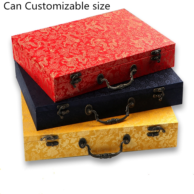 A4 Paper Magazine Scripture Book Collection Storage Box Organizer Vintage Chinese Silk Brocade Box Jewelry Packaging Case Gifts